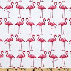 44'' Wide Michael Miller Shore Thing Flamingo Dance White Fabric By The Yard: Arts, Crafts & Sewing