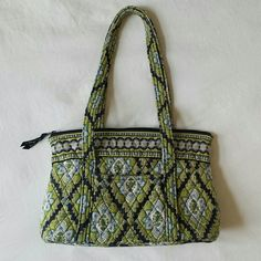 Vera Bradley Purse Shoulder Bag Green Blue Good condition!  I see no stains. Light wear on straps, see photo Vera Bradley Bags Shoulder Bags