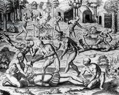 Scene of cannibalism amoung the Tupinamba Indians of Brazil .Engraving, by Theodor de Bry, 1578