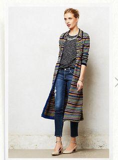 Anthropologie Fairisle Sweaterknit Coat long sleeves yarn combination size L #Anthropologie #sweatercoat