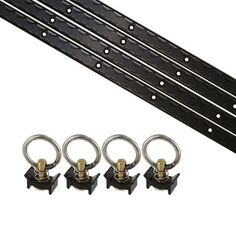 8 Piece L Track Tie Down System- Black 4 - Black L-track Tie Down Rails 4 - Black Single Stud Fittings Number of holes per track - 10 Easy to install Very strong Van Bed, Enclosed Trailers, Atv Accessories, Black Singles, Truck Bed, Stainless Steel Rings, Track, Ebay, Truck Accessories