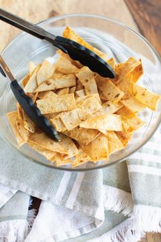 Baked & Seasoned Tortilla Strips have the perfect crispy texture and versatile seasoning. They make any soup/salad pop, and are a delicious snack! Yummy Snacks, Healthy Snacks, Yummy Food, Quesadillas, Mexican Dishes, Mexican Food Recipes, Churros, Empanadas, Tortilla Strips Recipe
