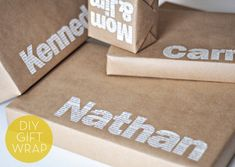 Personalized typographic gift wrap, economy gift wrapping, have only brown paper, totally cute Wrapping Ideas, Present Wrapping, Holiday Crafts, Holiday Fun, Christmas Holidays, Christmas Gifts, Santa Gifts, Christmas Morning, Christmas Birthday