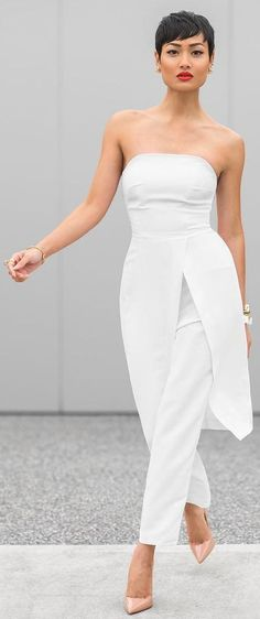 #summer #fashion #outfitideas | White Pant Suit + Nude Pumps