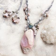 Crystal healing amulet with Peruvian Pink Opal & raw Sapphire