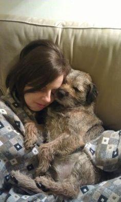 Resultado de imagen para Border Terrier and owner hug