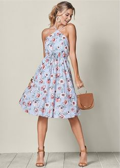 You deserve the sun in this floral print midi dress with an adorable unique neckline.Sizes: XS S M L XL waist with grommets and tieStrappy, crisscross open backHits below the knee Imported Casual Party Dresses, Summer Dresses, Summer Outfit, Banquet Dresses, Maxi Dresses, Cocktail Bridesmaid Dresses, Cocktail Dresses, Formal Dress Shops, Different Dresses