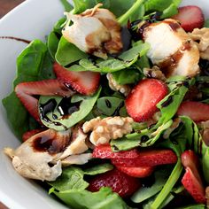 Nix the idea that healthy eating is no fun—our strawberry chicken salad with homemade balsamic dressing will have you reaching for seconds! Using fresh ingredients, simple instructions and a nice array of texture, this salad is sure to be a family favorite.
