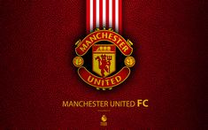 Download wallpapers Manchester United FC, 4K, English football club, leather texture, Premier League, MU logo, emblem, Newton Heath, Manchester, England, United Kingdom, football