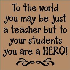 to your students you are a HERO!                                       We need to get our priorities straight as a country & start paying teachers better, I believe! Scott