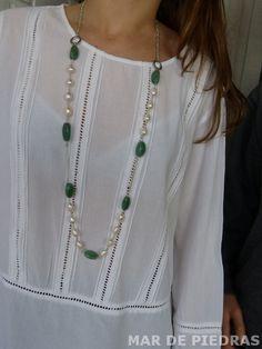 Collar largo de plata perlas y aventurina por MardePiedras en Etsy
