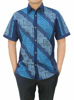 SALE DENIM BATIK African Shirts For Men, African Clothing For Men, African Men Fashion, African Fashion Dresses, Mens Clothing Styles, Couples African Outfits, African Attire, African Wear, African Dress