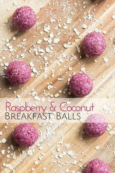Raspberry Coconut Breakfast Balls - A great hand held breakfast for kids Raspberry Coconut Breakfast Balls. A healthy start to day made from oats, ground almonds, raspberries, coconut and coconut oil. Great for baby-led weaning (blw) Raw Food Recipes, Snack Recipes, Cooking Recipes, Healthy Recipes, Breakfast Recipes, Cooking Cake, Coconut Recipes, Breakfast Finger Foods, Perfect Breakfast