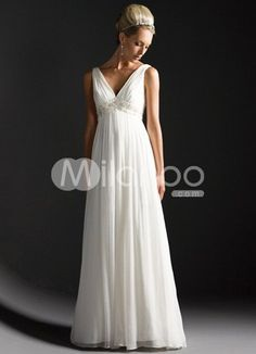 White Deep V-Neck Empire Waist Satin Chiffon Wedding Dress