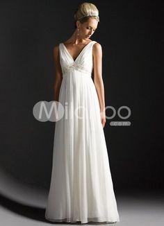 White Deep V-Neck Empire Waist Satin Chiffon Wedding Dress