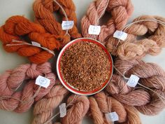 Wool dyed with madder root - this is a great Polish blog about spinning and using natural dyes