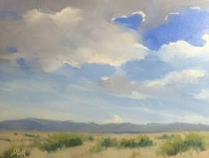 """Original oil painting, on gesso board panel, 6""""x8"""" titled """"Desert Clouds"""", by Debi Hinshaw"""