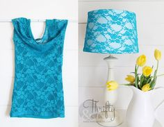 Turn Shirts into removeable lampshade covers! Great way to reuse old items and switch up your decor easily