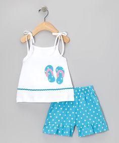 Sweet Teas Childrens Boutique White Flip-Flop Tank & Shorts - Infant, Toddler & Girls | zulily