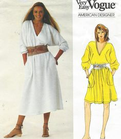 Vogue Sewing Pattern 2891 Vtg Calvin Klein Dress Petite 6 Loose Fit A Line FF for sale online Vogue Sewing Patterns, Clothing Patterns, Dress Patterns, Paper Patterns, Knitting Patterns, Tunic Pattern, Jacket Pattern, Misses Clothing, Vintage Vogue