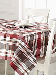 Tablecloths: Shop for Table Linens Online in Canada Black Tablecloth, Round Tablecloth, Men Home Decor, Tartan, Plaid, Christmas Table Settings, Weaving Patterns, Table Linens, Traditional