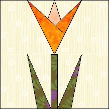 Block of Day for April 29, 2016 - Hibiscus-foundation/paper piecing-The pattern may be downloaded until: Monday,  May 9, 2016.