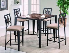 Grayson 5-piece Counter Height Table Set By Crown Mark Furniture - http://www.furniturendecor.com/grayson-5-piece-counter-height-table-set-by-crown/ - Categories:Dining Room Furniture, Dining Room Sets, Furniture, Home and Kitchen