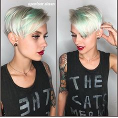 Love this pixie cut and mint hair color design! Color by @miss.shannonbee of @parlour.eleven #hotonbeauty #hothairvids