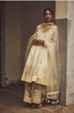 Beautiful Silk Anarkali suit with organza dupatta. Embellished with hand embroidery work and golden boarders. Silk Anarkali Suits, Salwar Suits, Indian Wear, Indian Style, Indian Designer Wear, Fashion Sketches, Indian Outfits, Indian Fashion, Saree