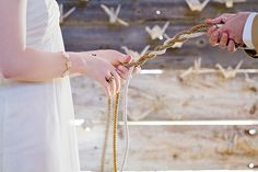 Many Christian couples have heard about the '3 cord strand' symbolizing God, the man and the wife.  This is a COOL idea to do rather than the unity candle!  :)