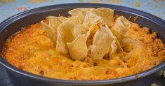 Buffalo Chicken Dip Recipe Appetizers with cream cheese, cooked chicken, cheese, buffalo sauce, ranch dressing, sour cream, tortilla chips