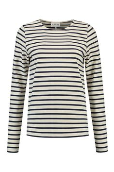 Ganni T Shirt Jersey T1520 Naturel Blauw Streep - NIEUW Bloom Fashion
