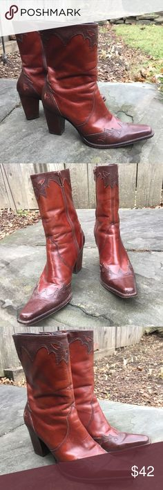"""Antonio Melani Boots Gorgeous chestnut brown  Leather boots with great detail. VGUC. 3 1/2"""" heel. ANTONIO MELANI Shoes Heeled Boots"""