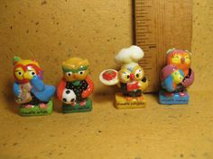 TINY OWLS Owl Artist Athlete Chef Baker Mother Mama - French Feve Feves Figurines Doll House Miniatures LL38 by ValueARTifacts on Etsy