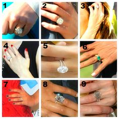 The engagement rings of Can you guess who are the lucky celebs wearing them? Ring Bearer Outfit, Modern Engagement Rings, Boho Rings, Promise Rings, Vintage Rings, My Girl, Celebrity Style, Celebs, Celebrities