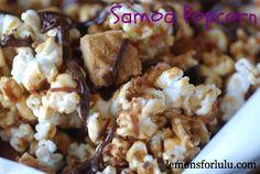 Samoa popcorn with caramel, coconut, shortbread cookies and chocolate. www.lemonsforlulu.com