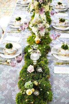 Garden Wedding. I like the idea of table runners. The pink lace one to the left especially.