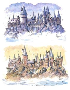Inspired by my recent trip to Hogwarts Studio outside of London. Ill also have these, more artwork, and doing commissions at the upcoming GrandCon Gaming Convention next weekend! Fanart Harry Potter, Harry Potter Tattoos, Harry Potter Kunst, Harry Potter Castle, Arte Do Harry Potter, Harry Potter Drawings, Harry Potter Wallpaper, Harry Potter Love, Harry Potter Fandom