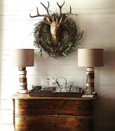 Rustic Christmas decor. Jamie Young Co. Stacked Horn Table Lampso