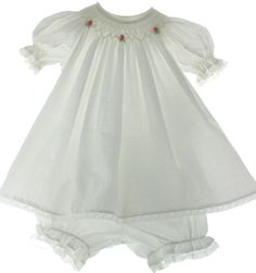 Hiccups Childrens Boutique - Infant Girls White Smocked Dress