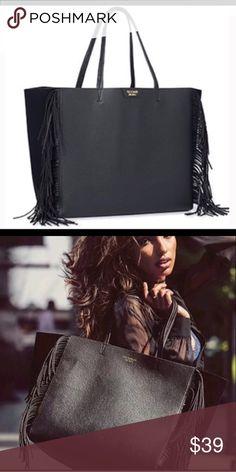 "{Victoria's Secret} VS 2016 Black Fringe Tote NWT. Victoria's Secret black fringe tote. L23.5"" x H13"" x W7"". Bundle and save! Fast shipping! Victoria's Secret Bags Totes"