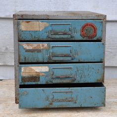 Industrial Metal Cabinet with drawers Drawer Shelves, Cabinet Drawers, Filing Cabinet, Industrial Metal, Vintage Industrial, Vintage Decor, Rose, How To Make, Ideas