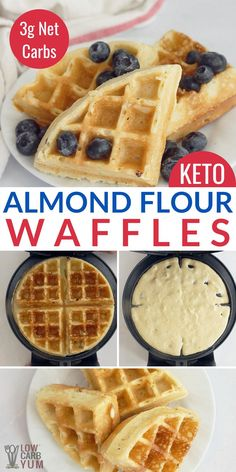 Keto Waffles (Almond Flour, Easy) This easy almond flour waffle recipe is guaranteed to brighten up any morning! These low carb waffles taste great topped with berries and syrup. You can also use them for a keto pizza crust! Almond Flour Waffles, Almond Flour Recipes, Almond Flour Pizza Crust, Almond Flour Desserts, Almond Milk, Coconut Milk, Low Carb Waffles, Keto Pancakes, Healthy Waffles