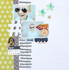 four #happiness - Scrapbook.com - Die cut large shapes like hashtags to add some fun to a layout.
