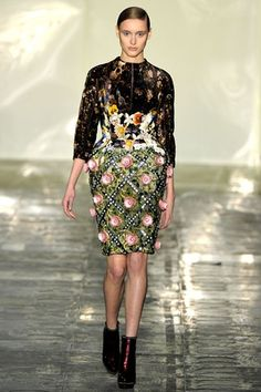 Mary Katrantzou's 'Jewel Tree Dress' on the catwalk.