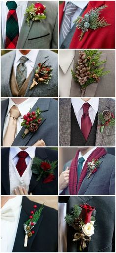 Christmas Inspired Wedding Groom boutonniere and tie