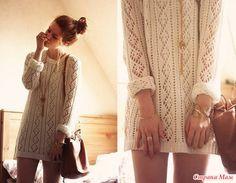 Бежевый свитер спицами - Страна Мам