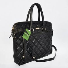 """Kate Spade Gold Coast Janine 15"""" Laptop Bag Blk Quilted Leather"""