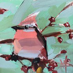 Cedar Waxwing no. 29 Original Oil Painting by Angela Moulton
