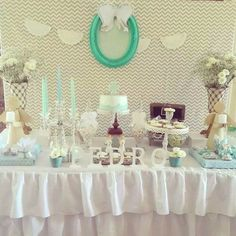 Modern Meets Vintage Baptism Dessert Table with Such Cute Ideas via Kara's Party Ideas | KarasPartyIdeas.com #babybaptism #baptism Baptism Dessert Table, Baptism Desserts, Dessert Buffet Table, Candy Buffet, Party Kulissen, Party Time, Party Ideas, Baby Girl Birthday, 1st Birthday Parties